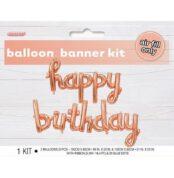 Happy Birthday Rose Gold 100cm x 60cm & 130cm x 60cm Balloon Banner With Ribbon