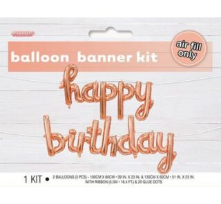 Happy Birthday Rose Gold 100cm x 60cm & 130cm x 60cm Balloon Banner With Ribbon