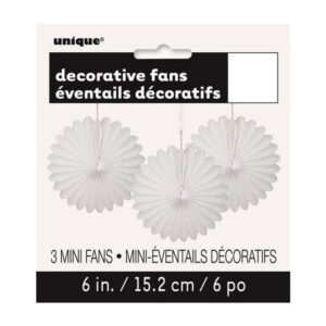 3 Decorative Fans Bright White 15cm (6) (FILEminimizer)