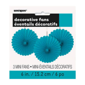 3 Decorative Fans Caribbean Teal 15cm (6) (FILEminimizer)
