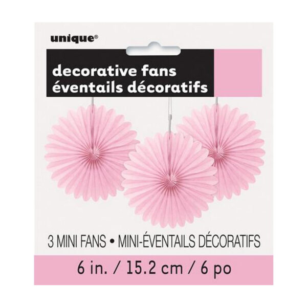 3 Decorative Fans Lovely Pink 15cm (6)