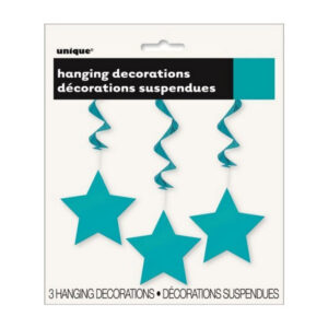 3 Star Hanging Swirl Decorations Caribbean Teal 90cm L (36) (FILEminimizer)