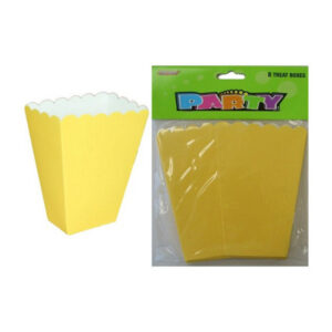 8 Treat Boxes - Yellow - 14cm H x 10cm W x 6cm D (FILEminimizer)
