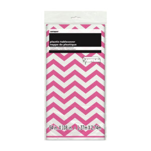Chevron Hot Pink Plastic Tablecover 137cm x 274cm
