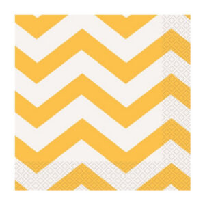 Chevron Sunflower Yellow 16 Luncheon Napkins 2ply 33cm x 33cm (FILEminimizer)