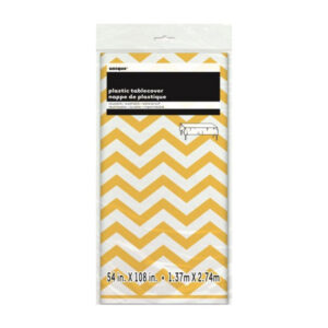 Chevron Yellow Plastic Tablecover 137cm x 274cm (FILEminimizer)