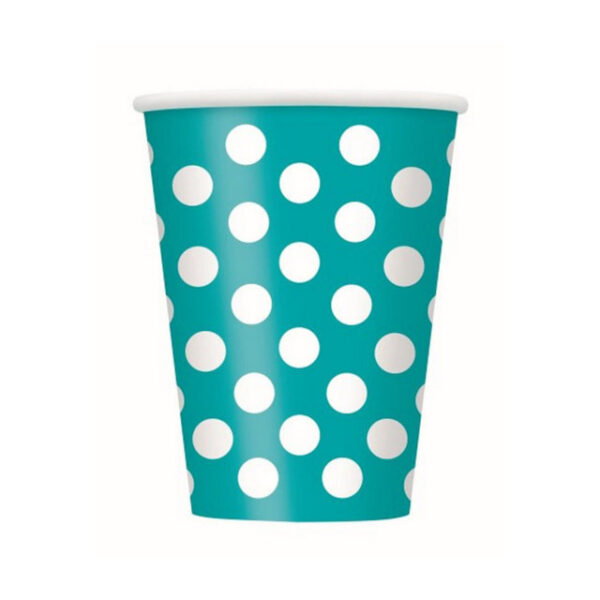 Dots Caribbean Teal 6 x 355ml (12oz) Paper Cups (FILEminimizer)