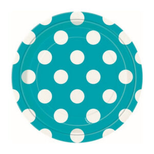 Dots Caribbean Teal 8 x 18cm (7) Paper Plates (FILEminimizer)