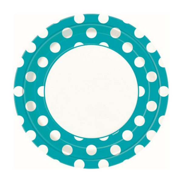 Dots Caribbean Teal 8 x 23cm (9) Paper Plates (FILEminimizer)