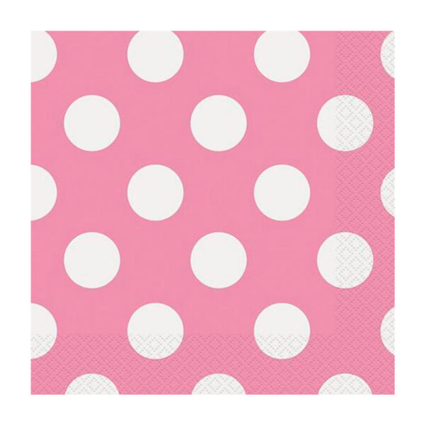 Dots Hot Pink 16 Luncheon Napkins 2ply 33cm x 33cm