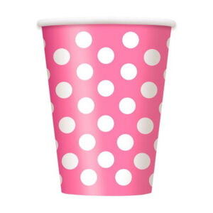 Dots Hot Pink 6 x 355ml (12oz) Paper Cups