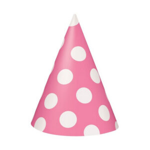 Dots Hot Pink 8 Party Hats