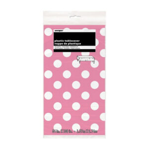 Dots Hot Pink Plastic Tablecover 137cm x 274cm