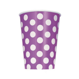 Dots Pretty Purple 6 x 355ml (12oz) Paper Cups (FILEminimizer)