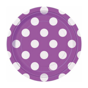 Dots Pretty Purple 8 x 18cm (7) Paper Plates (FILEminimizer)