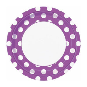 Dots Pretty Purple 8 x 23cm (9) Paper Plates (FILEminimizer)