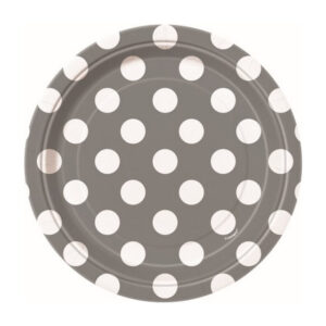 Dots Silver 8 x 18cm (7) Paper Plates (FILEminimizer)