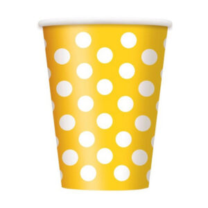 Dots Sunflower Yellow 6 x 355ml (12oz) Paper Cups (FILEminimizer)
