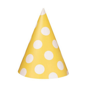 Dots Sunflower Yellow 8 Party Hats (FILEminimizer)