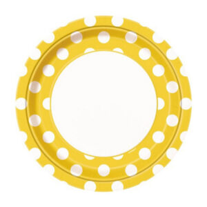 Dots Sunflower Yellow 8 x 23cm (9) Paper Plates (FILEminimizer)
