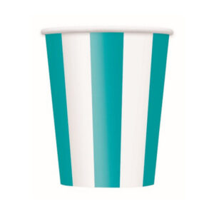 Stripes Caribbean Teal 6 x 355ml (12oz) Paper Cups (FILEminimizer)