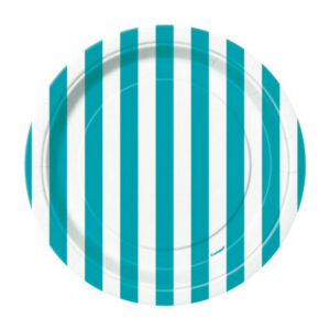 Stripes Caribbean Teal 8 x 18cm (7) Paper Plates (FILEminimizer)