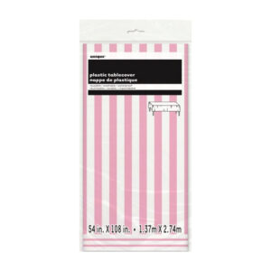 Stripes Lovely Pink Plastic Tablecover 137cm x 274cm