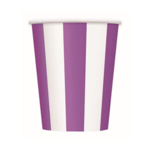 Stripes Pretty Purple 6 x 355ml (12oz) Paper Cups (FILEminimizer)