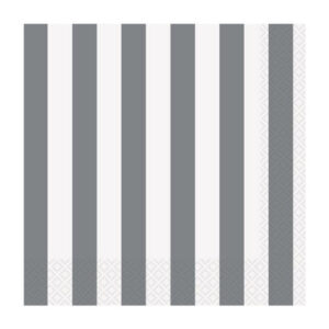 Stripes Silver 16 Luncheon Napkins 2ply 33cm x 33cm (FILEminimizer)