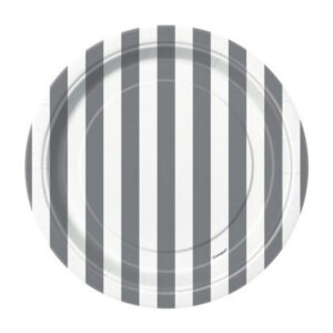 Stripes Silver 8 x 18cm (7) Paper Plates (FILEminimizer)