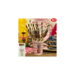 12pk Straws with Pineapple embellishments