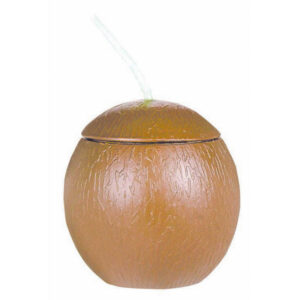 532ml Coconut Shaped Cup with Straw - Plastic
