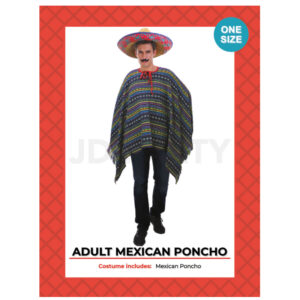 Mexican Poncho- Green, Blue and Rainbow color combination