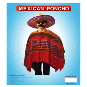Mexican Puncho with red yellow green stripe.