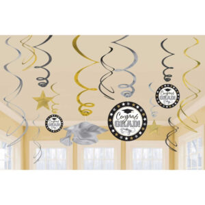Congrats Grad Swirls Decorations Foil & Cardboard Value Pack Silver, Gold & Black