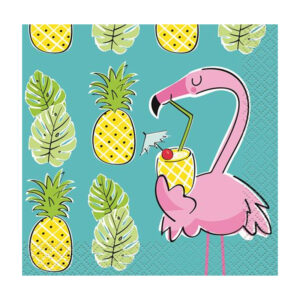 Summer Pineapple & Flamingo 16 Luncheon Napkins 2ply 33cm x 33cm