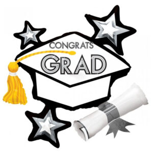 SuperShape XL Congrats Grad Hat White Cluster P40
