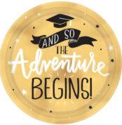 _The Adventure Begins Graduation Round Metallic Plates 7___17.7cm