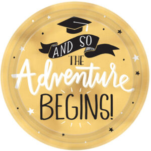 _The Adventure Begins Graduation Round Metallic Plates 7___17.7cm